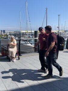 Paul exploring the marina on foot