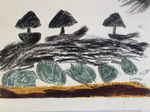 'Black Ships in a Black Sea' by Charlie Stephens - three charcoal sail boats navigate a choppy sea